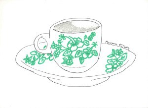 green flower kopitiam cup