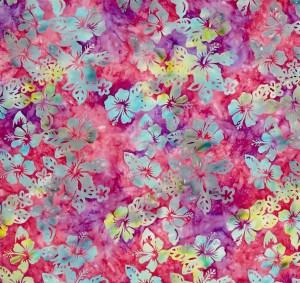 batik hibiscus bleu